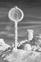 Winter in the Erzgebirge Mountains - The traffic sign