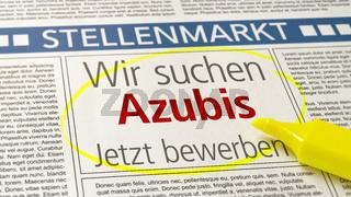 Job ad in a newspaper - Apprentices wanted - Wir suchen Azubis (German)