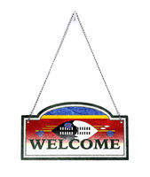 Swaziland welcomes you! Old metal sign isolated