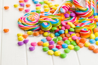 Colorful lollipops and sweet candy.