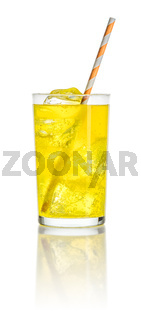 An orange soft drink with ice cubes and a straw