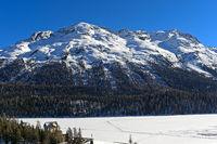 Piz Rosatsch massif rising above the lake St. Moritzersee, St.Moritz, Engadin Valley,Switzerland