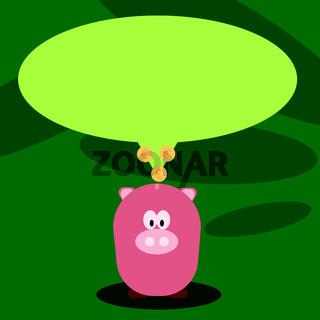 Illustration of Blank Oval Color Speech Bubble with Gold Euro Coins on Its Tail Pointing to Pastel Shade Piggy Bank. Creative Background Idea for Saving Tips and Financial Matters.