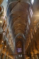 Paris, France, March 27, 2017: Interior of the Notre Dame de Paris. The cathedral of Notre Dame is one of the top tourist destinations in Paris