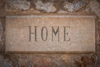 Spanish Villa Stone Home Sign