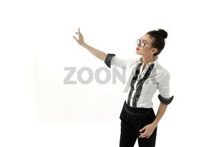 Beautiful hispanic business woman smiling over white background