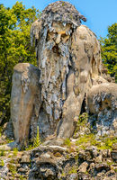 strong old bearded man statue colossus giant public gardens of Demidoff Florence Italy vertical