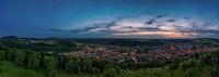 Sun setting as a pano over Albstadt, als little town in germany.