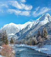 Winter mountain river, Austria, Tirol