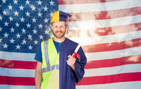 Split Screen Male Graduate In Cap and Gown to Engineer in Hard Hat in Front Of American Flag