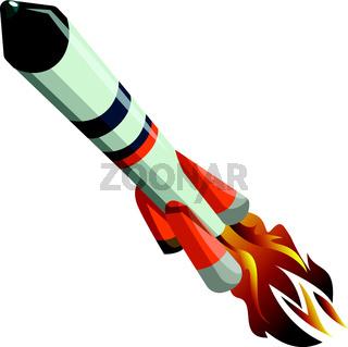 White long flying rocket vector illustration on white background.