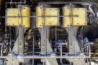 Felton, California - August 31, 2019:  Engine of Shay locomotive used on Dixiana Shay Steam Train by