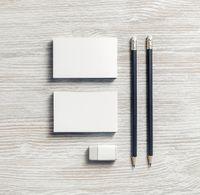 Business cards, pencils, eraser