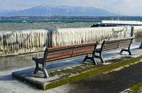 Icy storm day at Lake Geneva, Versoix near Geneva, Switzerland