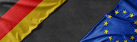 Flags of Germany and the European Union with copy space