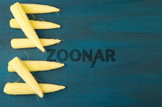 THE YOUNG CORN RAW ON A DARK TEXTURED WOODEN BACKGROUND