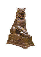 Chinese Style Antique Lion Sculpture Isolated