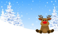 Cute deer in the winter forest.eps