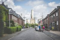 Settlement, houses, old, street, power station, shut down, couple, cyclists, Grevenbroich, North Rhi