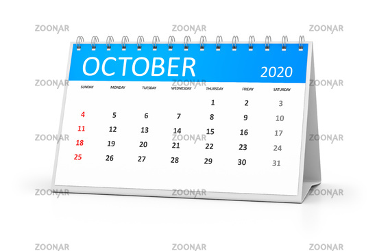 table calendar 2020 october