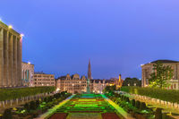 Brussels Belgium, night city skyline at Mont des Arts Garden