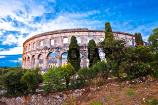 Arena Pula historic Roman amphitheater panoramc green landscape view