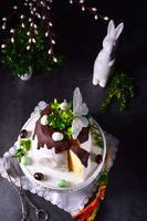 Easter cake with sugar and chocolate glaze
