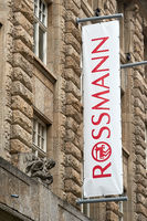 Flag at a Rossmann branch in downtown Leipzig