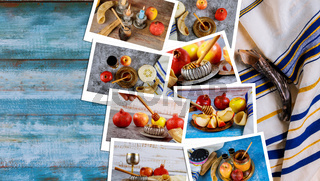 On the table in the synagogue are the symbols of Yom Kippur apple and pomegranate, shofar talith photo collage