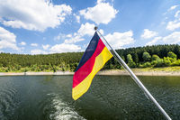 German flag on a boat in the summer
