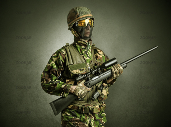 Soldier agent in a dark space with arms