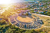 Ancient Salona or Solin amphitheater aerial sunset view