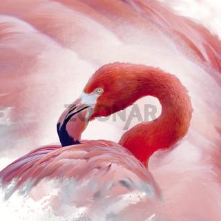 Flamingo watercolor painting