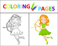Coloring book page for kids. Forest elf with a bow. Sketch outline and color version. Childrens education. Vector illustration.