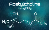 Chemical formula of Acetylcholine on a futuristic background