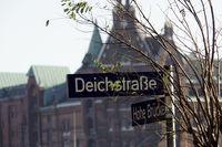 Street sign Deichstrasse, in the background the Speicherstadt