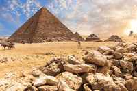 The Menkaure Pyramid of Giza, a beautiful ancient tomb, desert view