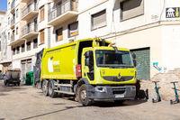 Garbage Truck in Malaga, Spain