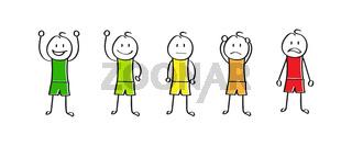 Emotional cartoon men in the color of emotions, simple design