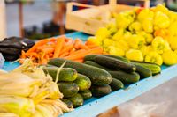 Different raw vegetables at a farmers market