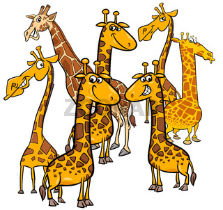 cartoon giraffes animal characters group