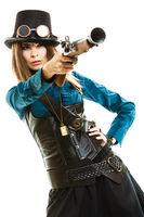 Funky girl in steampunk style.