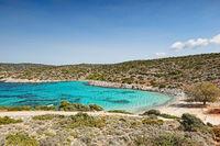 The beach Agia Dynami in Chios, Greece