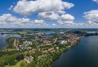 Aerial view of Ploen city in Germany