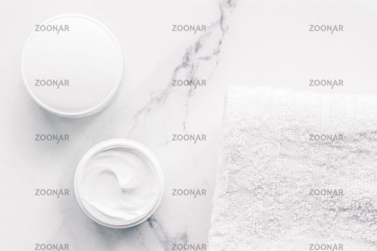 Organic beauty cosmetics on marble, home spa flatlay background