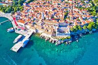 Idyllic Adriatic island town of Krk aerial view