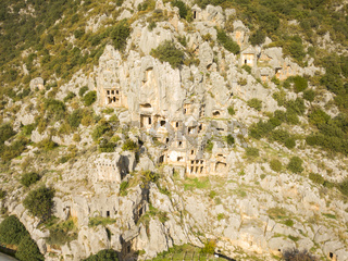 High Angle Aerial Rock Cut Tombs Myra Turkey