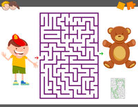 maze game with cartoon boy and teddy bear