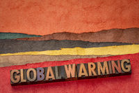global warming word abstract in wood type