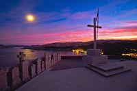 Baska on Krk island. Evening view of bay from graveyard above town of Baska.
